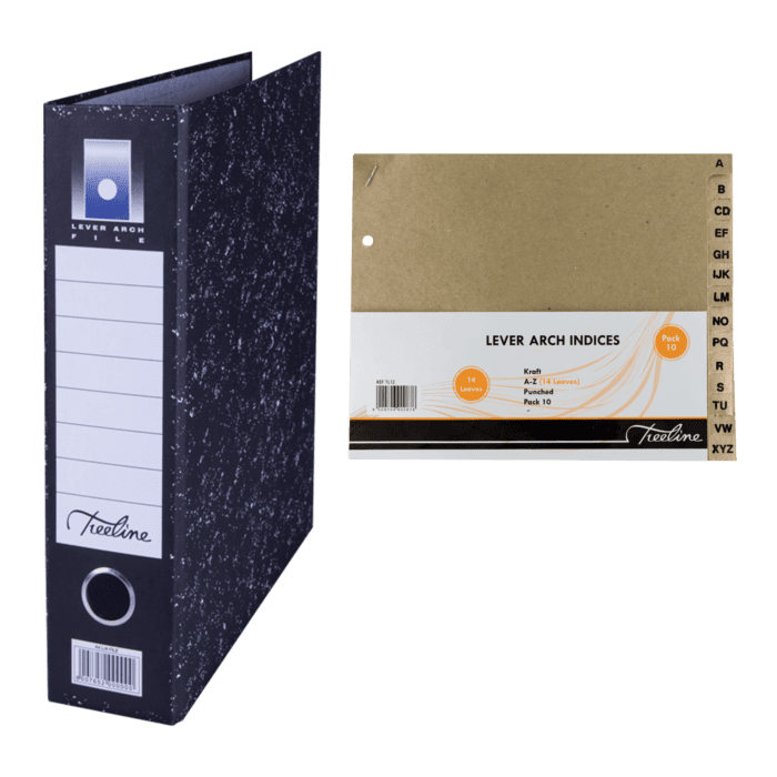 Treeline A4 Lever Arch File with Index Black Pkt-6
