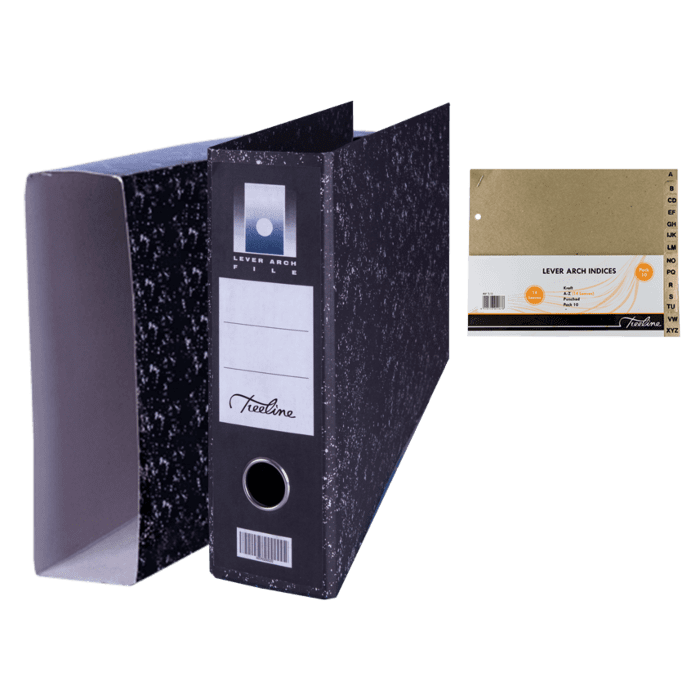 Treeline Foolscap Oblong Lever Arch File with Index and Dustcover Pkt-2