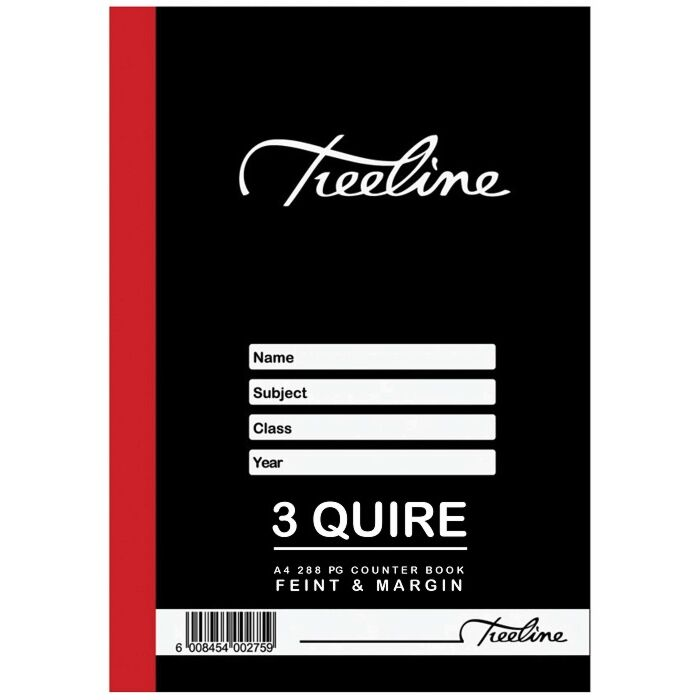 Treeline A4 3 Quire 288 pg Quad & Margin