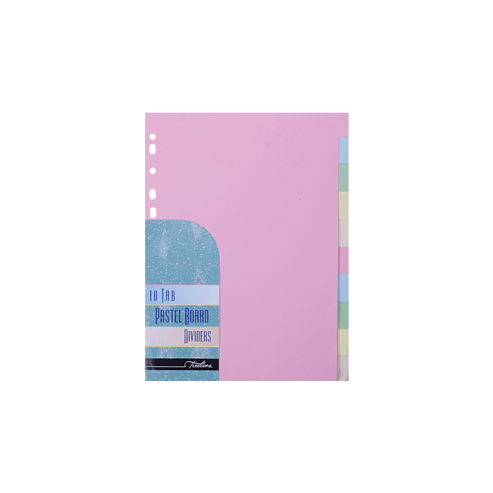 Treeline A4 10 Tab Board Divider Pastel Assorted Pkt-10