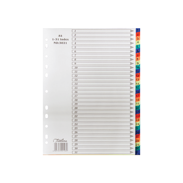 Treeline A4 PVC Index 1 to 31 Divider Rainbow Pkt-10