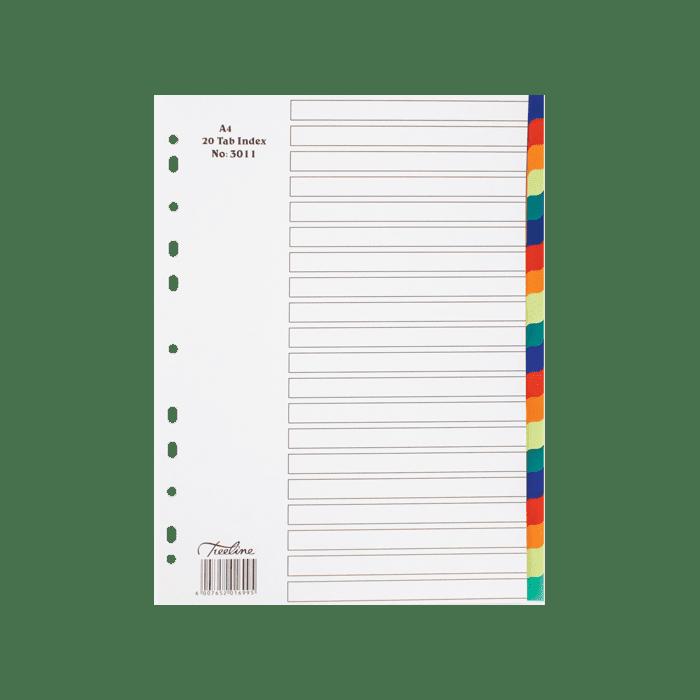 Treeline A4 PVC Index 20 Tab Divider Rainbow PKt-10