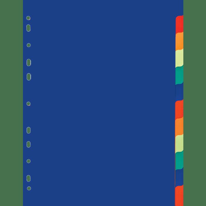 Treeline A4 PVC Index 12 Tab Divider Rainbow Pkt-10