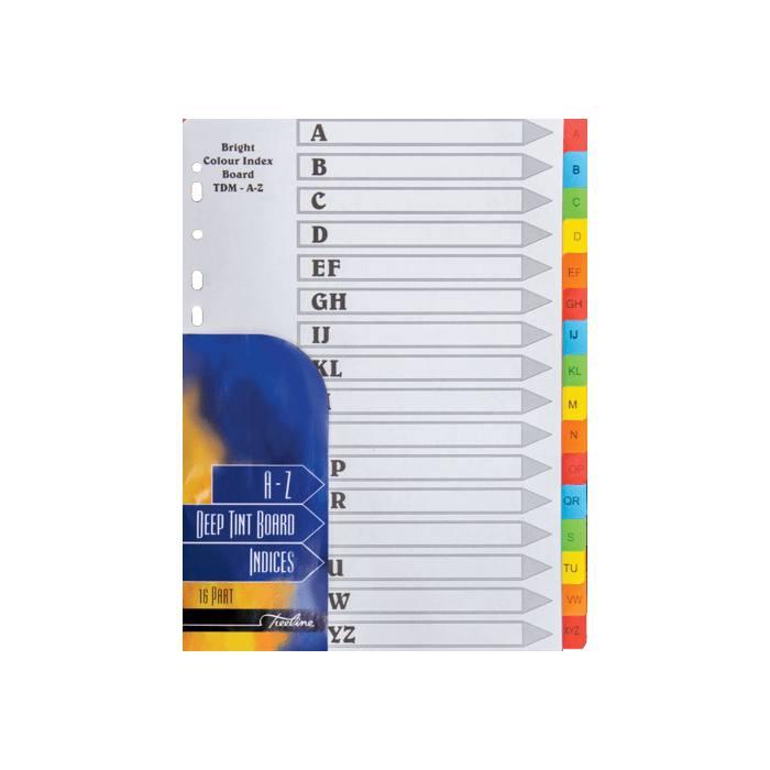 Treeline A to Z 16 Tab Divider Deep Tint Assorted Pkt-10