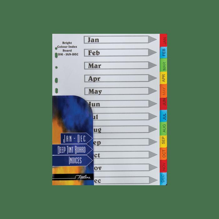 Treeline January to December Divider Deep Tint Assorted Pkt-10