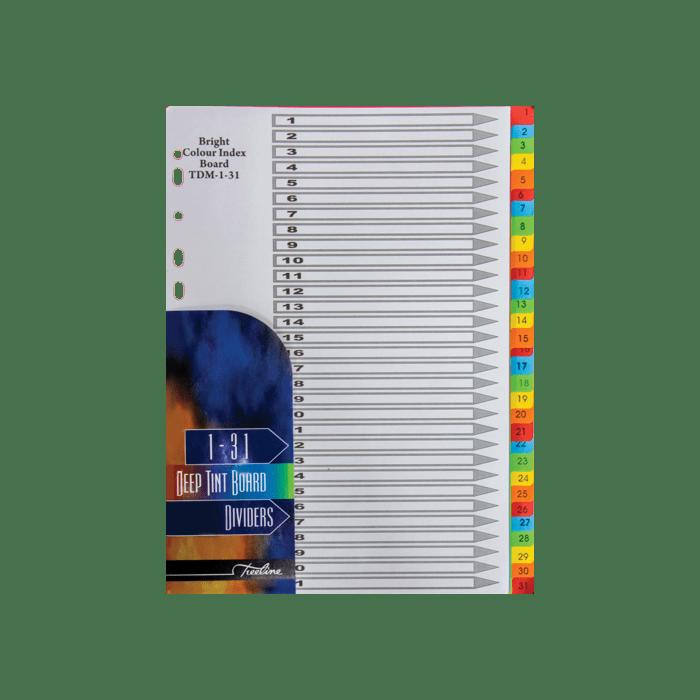 Treeline 1 - 31 Divider Deep Tint Assorted Pkt-10