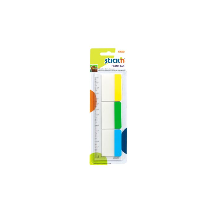 Stickn 37 x 50mm Filing Tab Repositionable 3 Solid Colours