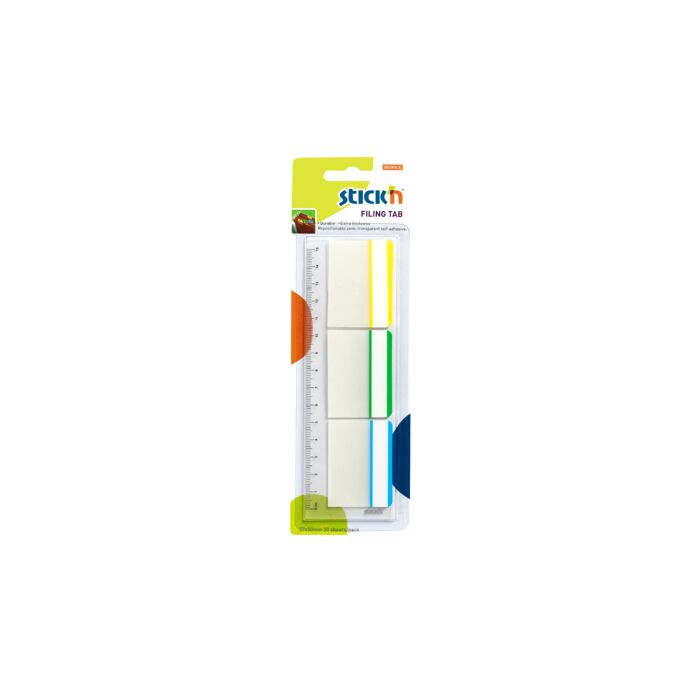Stickn 37 x 50mm Filing Tab Repositionable 3 Frame Colours