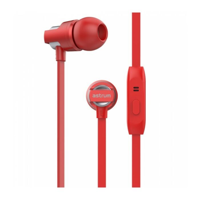 Astrum EB410 Wired Stereo Earphones + In-line Mic Red