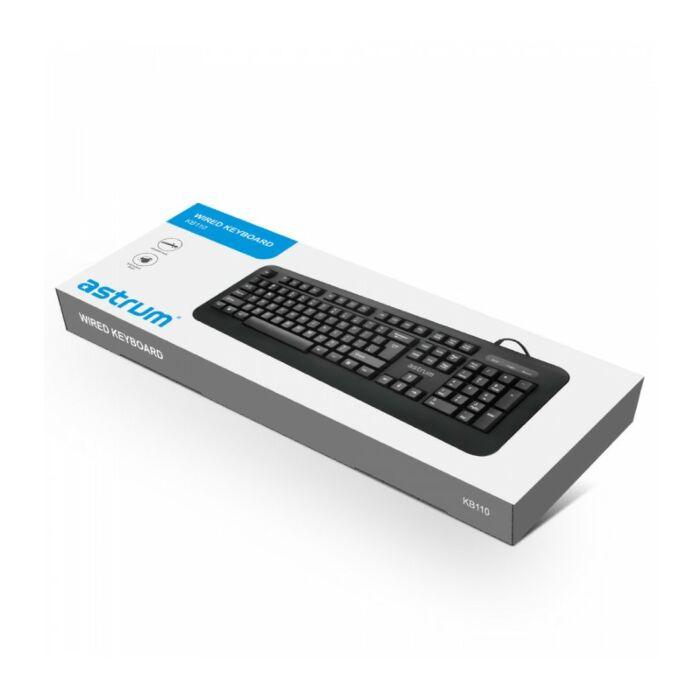 Astrum KB110 Classic Wired Keyboard 104keys + Media Keys English Black