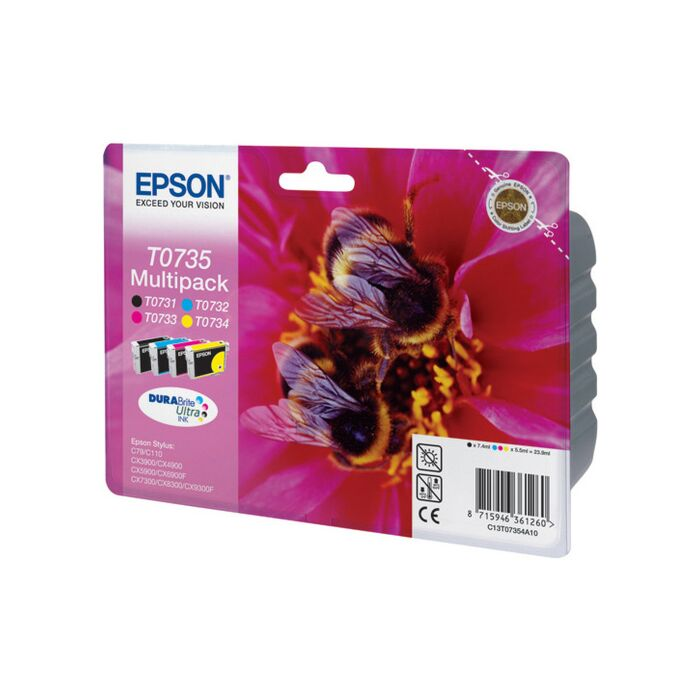Epson - Ink - T0735 - Multipack (Bcmy) - Bees - Stylus C79 / 110 / Cx3900 / 4900 / 5900 / 6900F / 7300 / 8300 / 9300F - (Replaced C13T07354A10)
