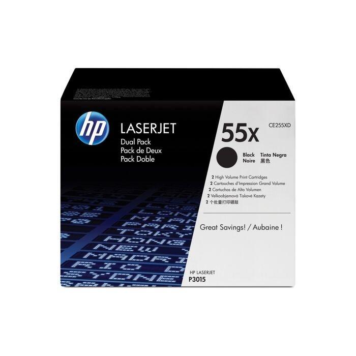 HP 55X Laserjet P3015 Black Print Cartridge - Dual Pack
