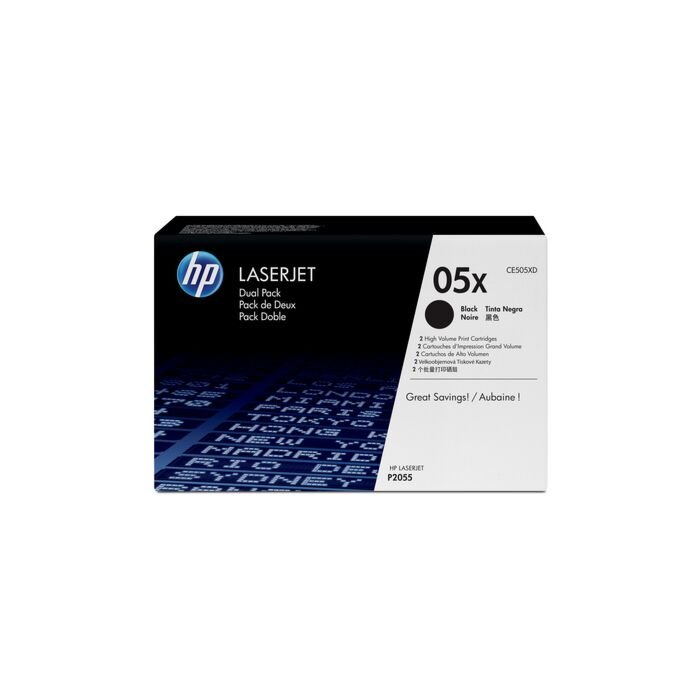 HP 05X Laserjet P2055 Black Print Cartridge - Dual Pack