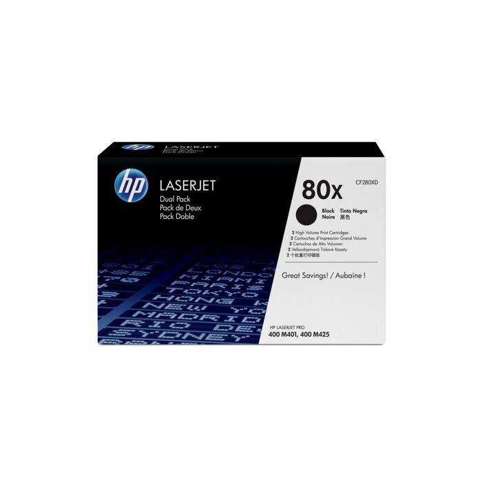 HP 80X Blackhigh Yield Laserjet Toner Cartridge Dual Pack - New