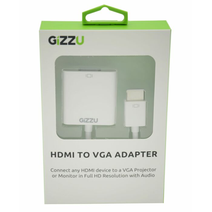 GIZZU HDMI to VGA with Audio Adapter - White