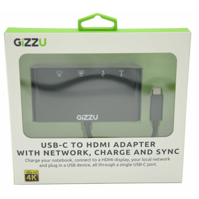 GIZZU USB-C to USB3.0 | Ethernet | HDMI | USB-C Data and Charging Adapter