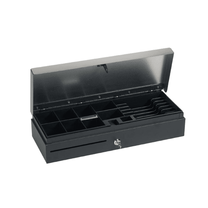 Maken FT-460S Flip Top Cash Drawer - Black RJ11 and RJ12