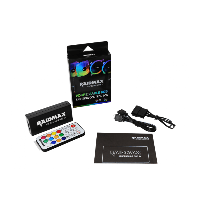 Raidmax Addressable RGB LED 4 Port (3 Pin) Controller | 4 Pin RGB Motherboard Connector (Compatible with: Fusion 2.0/Mystic Light Sync/Aura Sync)
