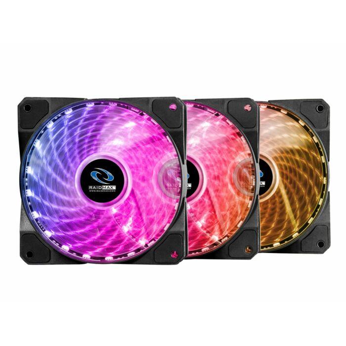 Raidmax 120MM 1200RPM 23dBA RGB LED Fan 3 Pack