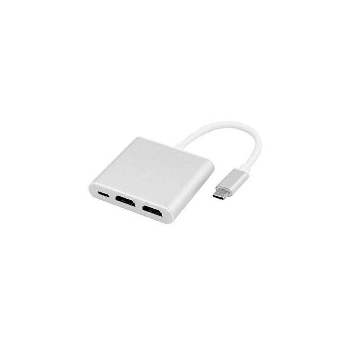 RCT ADP-UC2HDMI USB 3.1 TYPE C TO 2 HDMI ADAPTOR WITH USB TYPE C POWER DELIVERY