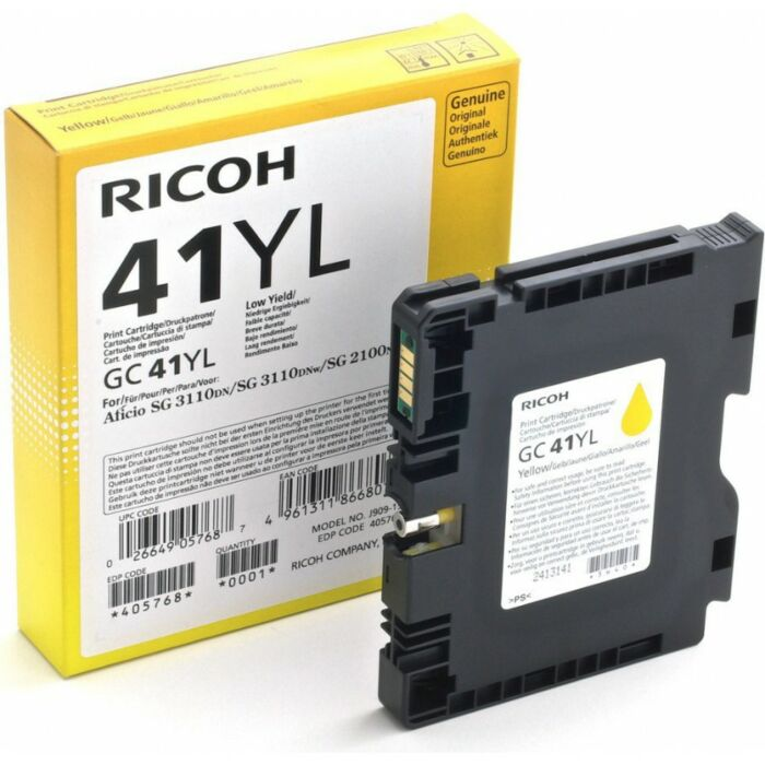 RICOH GC41YL YELLOW TONER 600 PAGES @ 5% IDC. (SG2100N/RS Only)