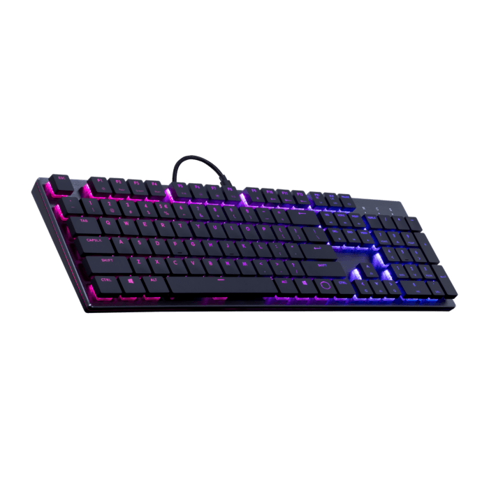 Cooler Master SK650 RGB Keyboard Brushed Aluminum Standard Layout Red Cherry MX Low Profile Mechanical Switches