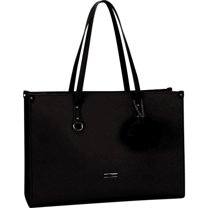 Supanova Pompom Ladies Laptop Bag Black