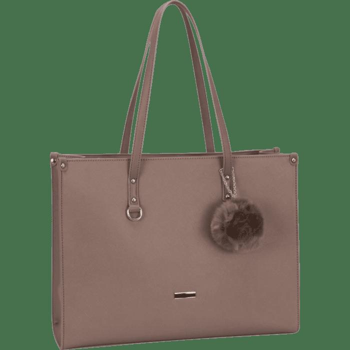 Supanova Pompom Ladies Laptop Bag Taupe