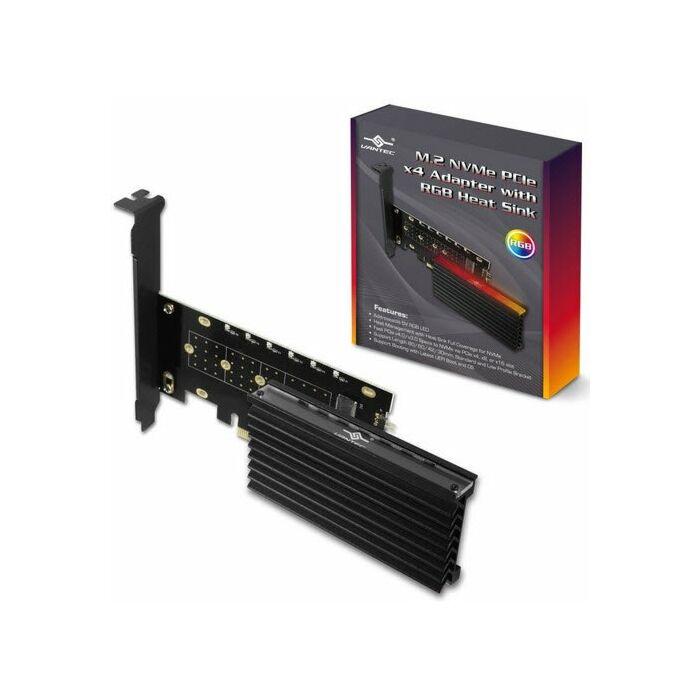 Vantec UGT-M2PC12-RGB M.2 NVMe PCIe x4 Adapter with ARGB Heat Sink