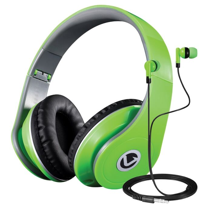 Dual Neo Series Headphone and Earphone Combo Neon Green