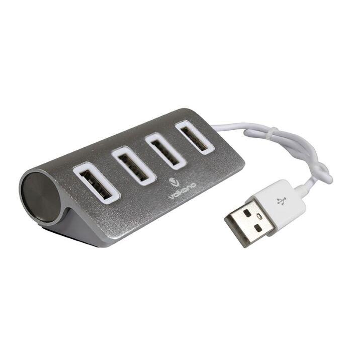 Volkano Pivot series 4 port USB Hub - Silver