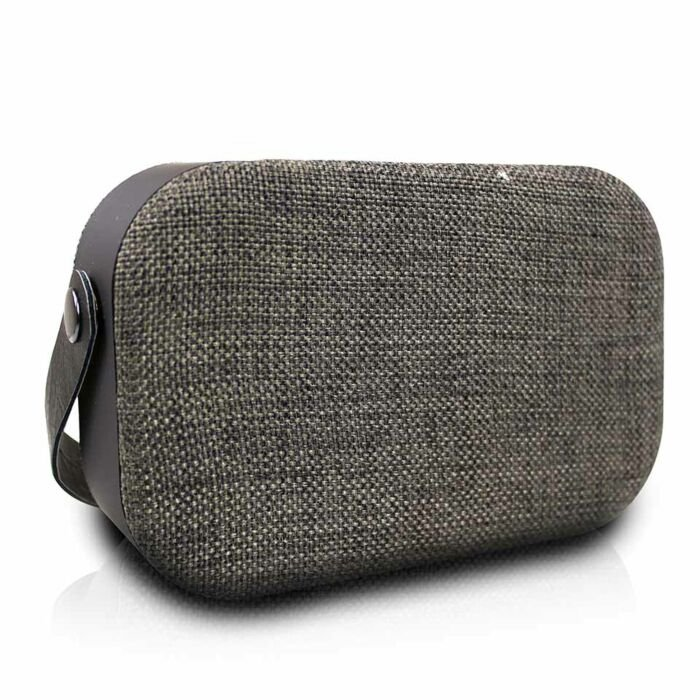 Volkano Fabric Series Bluetooth Speaker With Fabric Trim - Dark Grey