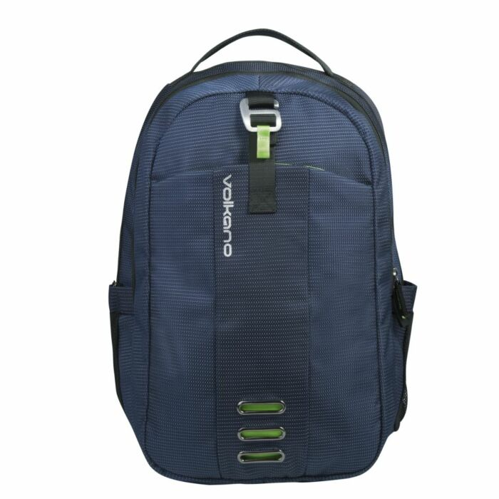 Volkano Latitude Laptop Backpack Navy and Lime 2 compartment