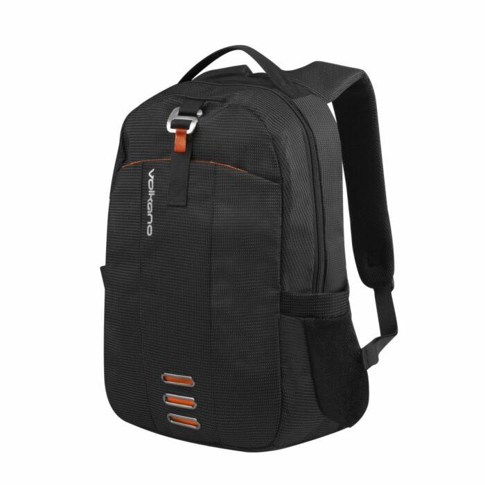 Volkano Longitude Laptop Backpack Black and Orange 1 compartment