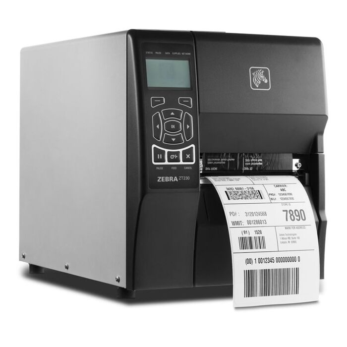 Zebra ZT-230-T0E000FZ 203dpi Direct Thermal or Thermal Transfer Label Printer with LCD