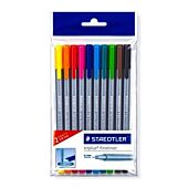 STAEDTLER TRIPLUS FINELINER ASSORTED WALLET 10