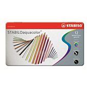 STABILO 12 Assorted Aquacolor Aquarellable Colour Pencil with Metal Box (Box of 5)