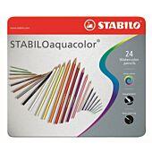 STABILO 24 Assorted Aquacolor Aquarellable Colour Pencil with Metal Box