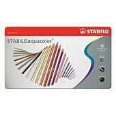 STABILO 36 Assorted Aquacolor Aquarellable Colour Pencil with Metal Box