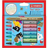 Stabilo Trio-Deco Metallic Fibre-Tip Pen 8 Assorted Colours (Box-12)