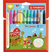 STABILO Trio Jumbo Fibre-tip Pen 12 Assorted Colours (Box-6)