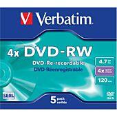 Verbatim - 4.7GB DVD-RW (4x) - Jewel Case (Pack of 5)