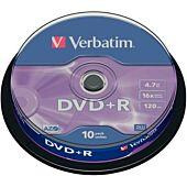 Verbatim - 4.7GB DVD+R (16x) - Matt Silver Spindle 10-Pkt