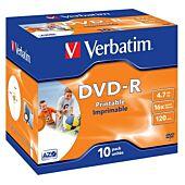 Verbatim - 4.7GB DVD-R (16x) - Printable with Jewel Case