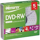 Memorex 5PCK JWL Case DVD-RW Rewritable