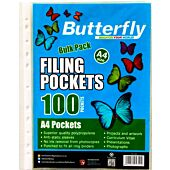 BUTTERFLY A4 FILING POCKETS 100's