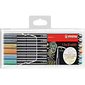 Stabilo Pen 68 Fibre-Tip Pen: Assorted Metallic Waller 6's (New Colours Silver, Gold, Copper, Blue, Green, Red)