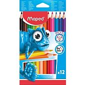 MAPED Pulse Jumbo Colour Pencil 12'S 0% Wood Triangular for Easy Grip (Box of 12)