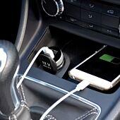 Port Connect Dual Port 3.4A Car Charger Black