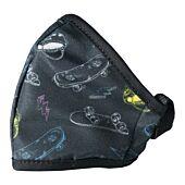 Clinic Gear Anti-Microbial Printed Mask Boys Skater - Black